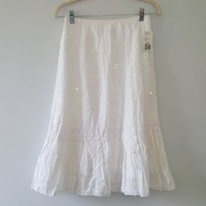 Forever 21 Cotton Skirt Lace Boho Hippie Crochet